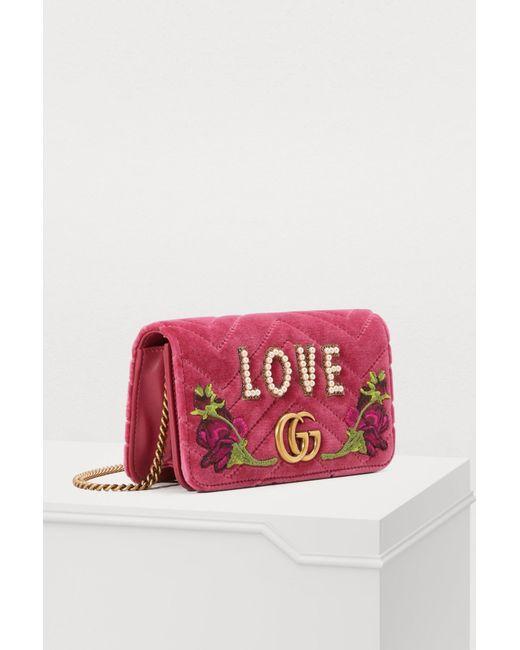 4f97b4c32e5 ... Gucci - Pink GG Marmont Love Mini Bag - Lyst ...