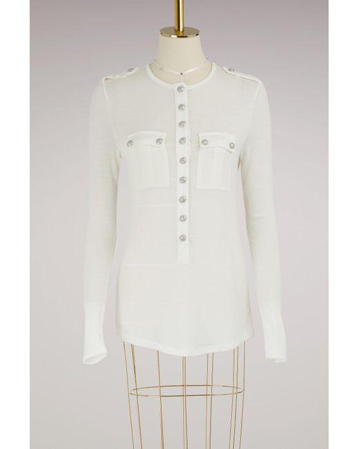 T-shirt boutonné Balmain en coloris White