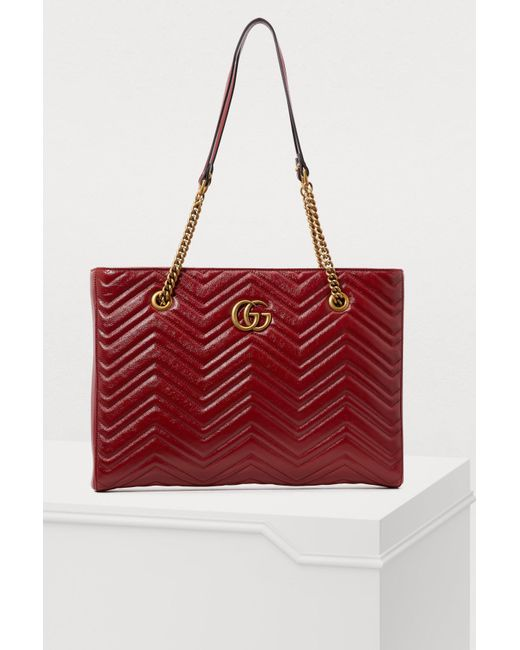 9075e8924dc6 Gucci - Red Gg Marmont Tote - Lyst ...