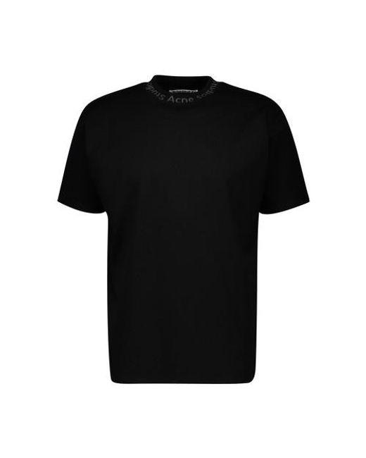 Acne Black Logo Crew Neck T-shirt. for men