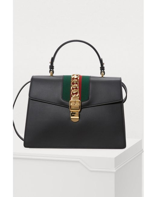 350bb60af15 Gucci Sylvie Leather Top Handle Bag in Black - Save 14% - Lyst