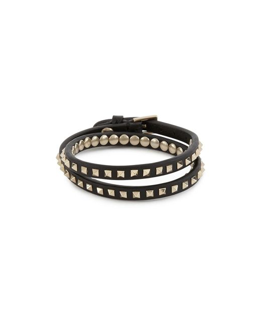 Valentino Black Garavani Rockstud Double Bracelet