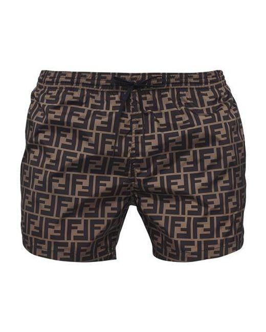 Fendi Multicolor Ff Allover Swimwear for men
