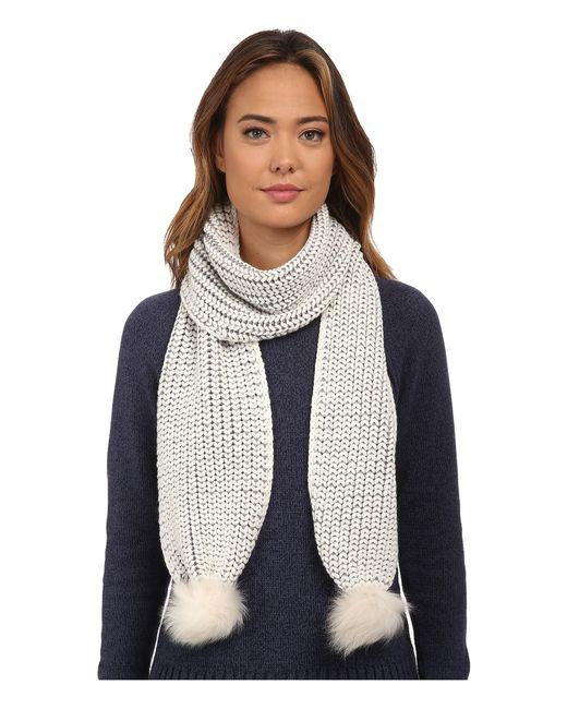Ugg   Natural Wool Blend Scarf With Sheepskin Pom-poms - Brown   Lyst