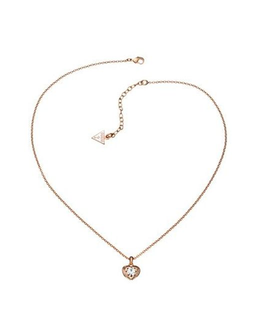 Guess | Pink Rose Gold Pendant Necklace | Lyst