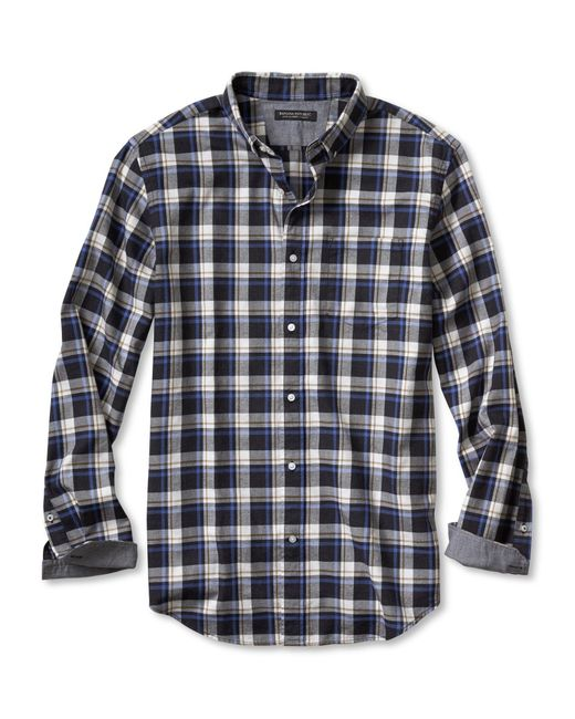 Banana republic slim fit gray check luxe flannel shirt in for Mens slim fit flannel shirt