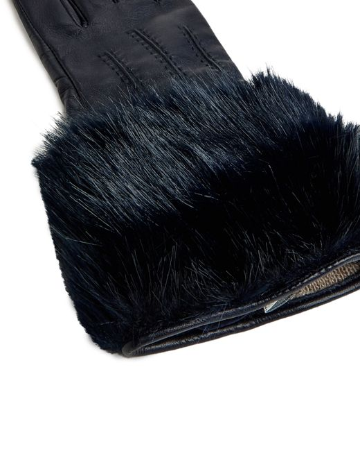 Ted Baker | Blue Jania Faux Fur Leather Gloves | Lyst