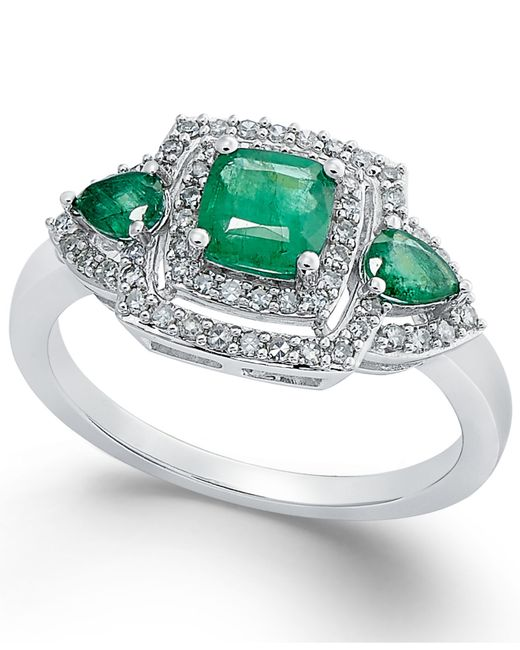 Macy's | Green Emerald (3/4 Ct. T.w.) And Diamond (1/3 Ct. T.w.) Ring In 14k White Gold | Lyst