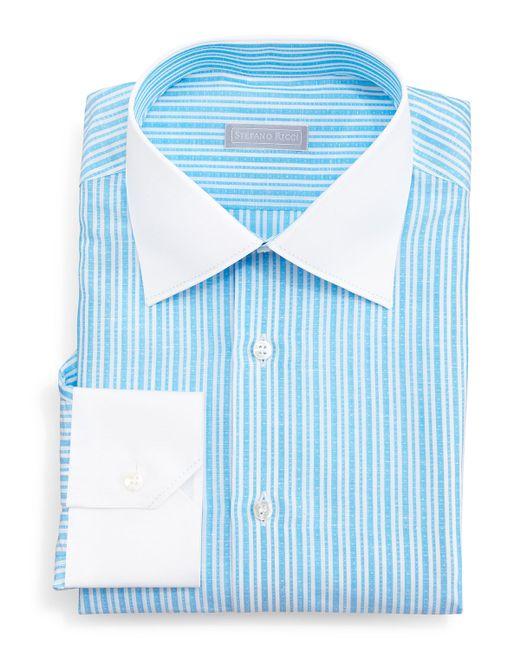 Stefano Ricci Contrast Collar Narrow Stripe Dress Shirt In