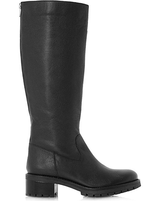 dune vern knee high leather boots in black black leather