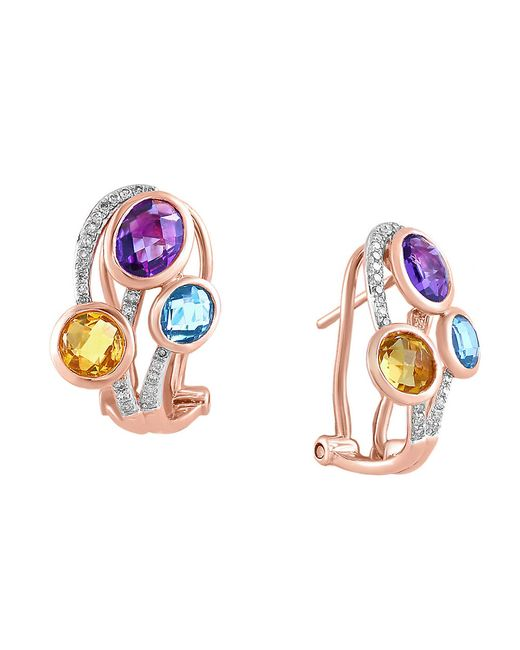 Effy | Metallic Mosaic Multi-colored Stone And Diamond Earrings | Lyst