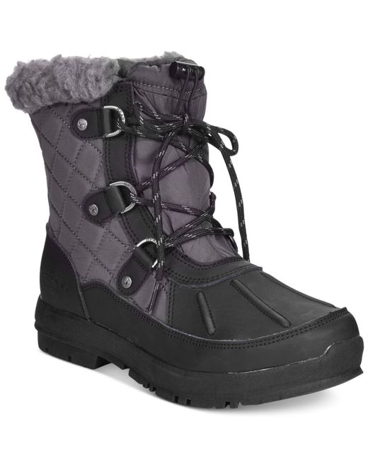 BEARPAW | Black Women's Bethany Lace-up Waterproof Cold Weather Booties | Lyst