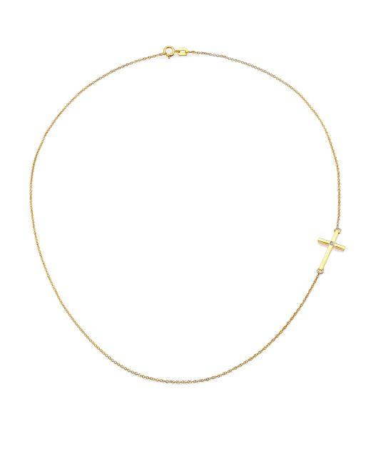 Mizuki   Metallic Diamond & 14k Yellow Gold Side Cross Necklace   Lyst