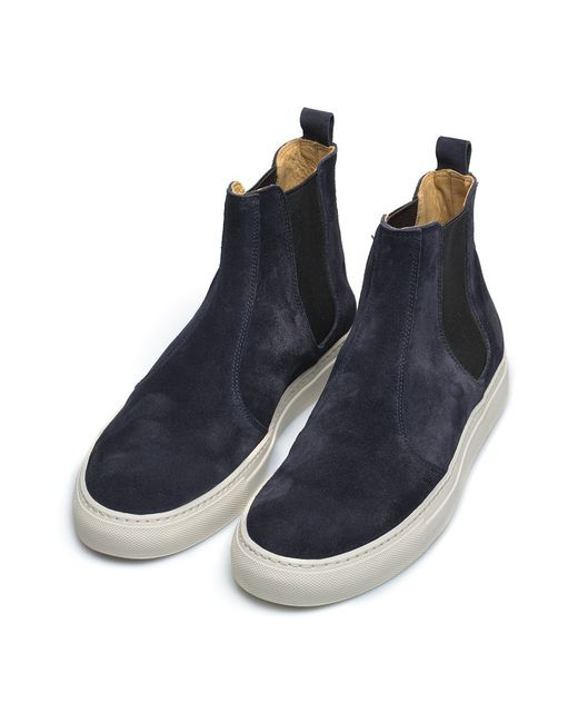 Buttero Navy Suede Chelsea Boots In Black For Men Lyst