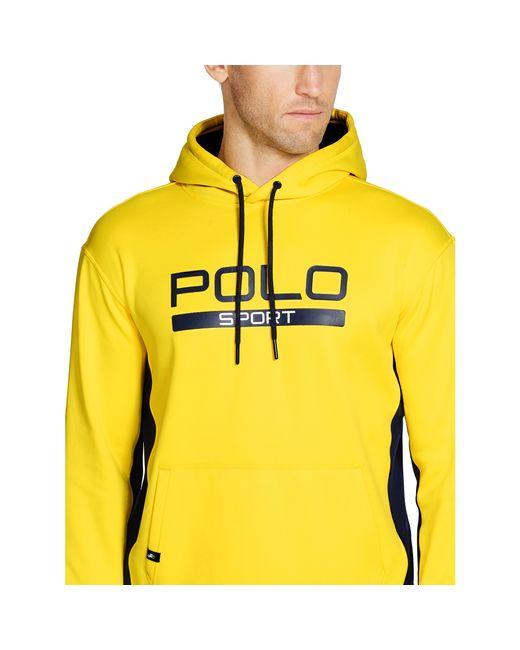 pink pony tech fleece hoodie in yellow for men university. Black Bedroom Furniture Sets. Home Design Ideas