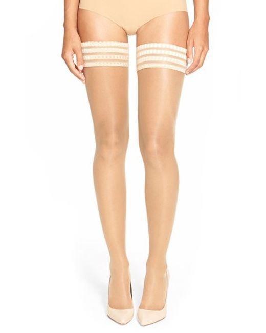 Falke | Natural 'pure Matt 20' Stay-up Stockings | Lyst