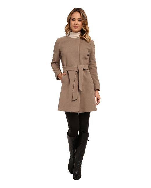 Lauren by Ralph Lauren | Brown Cashmere Blend Belted Collarless | Lyst
