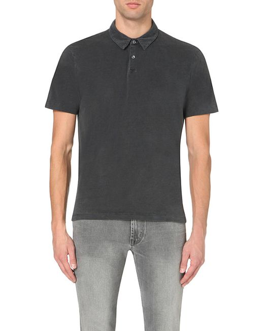 James Perse | Black Cotton-jersey Polo Shirt for Men | Lyst