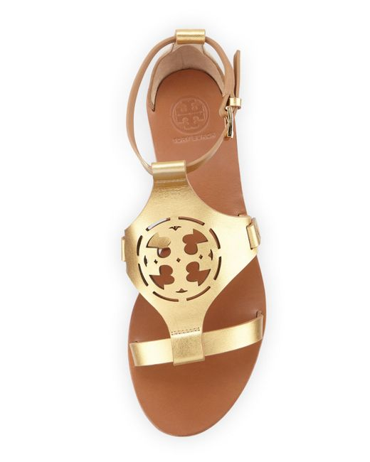 Tory Burch Zoey Leather Logo Flat Sandal In Gold Lyst