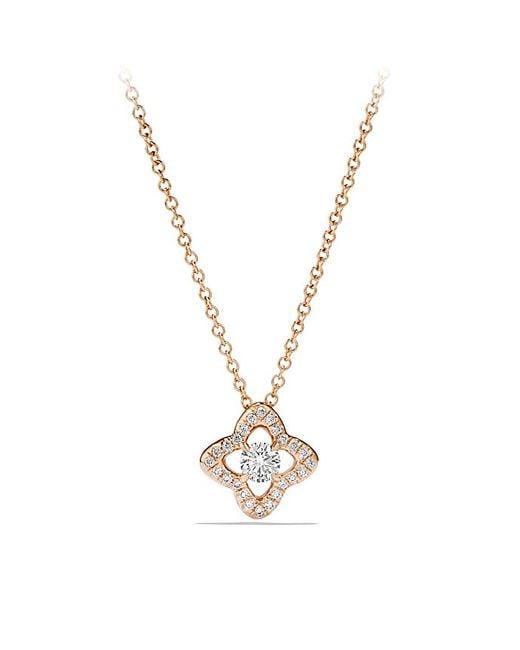 David Yurman | Metallic Venetian Quatrefoil Necklace With Diamonds In 18k Rose Gold | Lyst