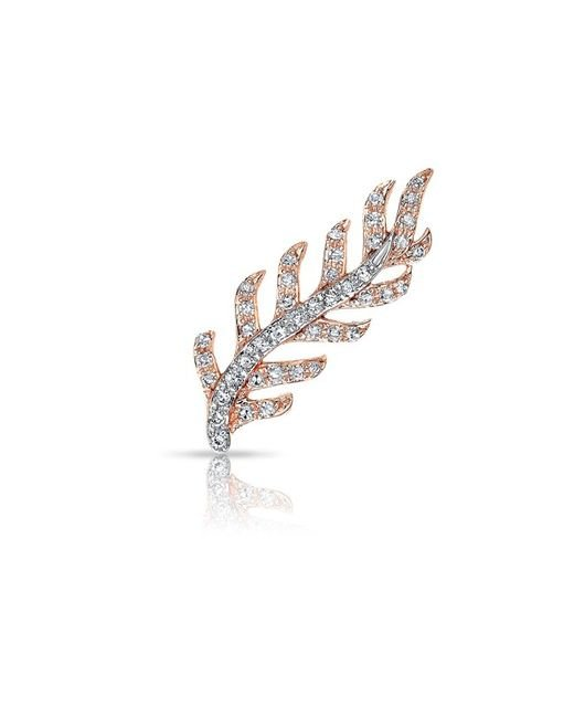 Anne Sisteron - Multicolor 14kt Rose And White Gold Diamond Leaf Ear Climber - Lyst