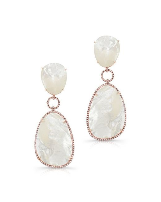 Anne Sisteron | Metallic 14kt Yellow Gold White Mother Of Pearl White Topaz Diamond Drop Earrings | Lyst