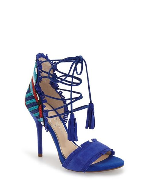 Jessica Simpson Basanti Fringe Lace Up Sandal In Blue