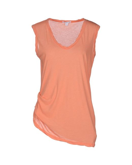 James perse sleeveless t shirt in orange lyst for James perse t shirts sale