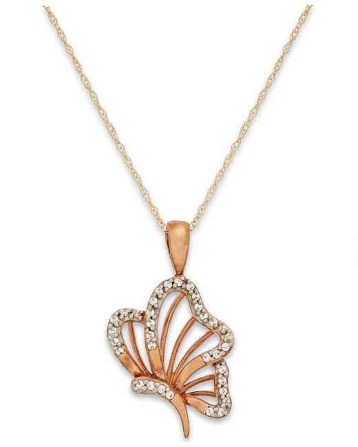 Macy's | Metallic Diamond Accent Butterfly Pendant Necklace In 10k Gold | Lyst
