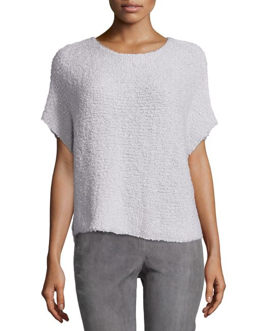 Lafayette 148 New York | Gray Round-neck Short-sleeve Pullover Top | Lyst