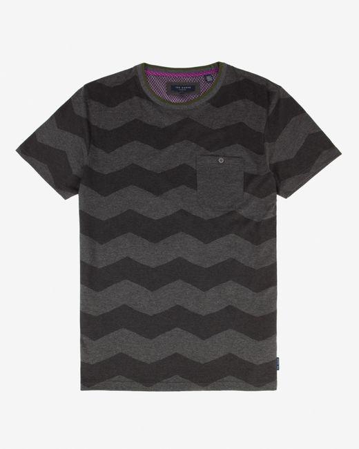 Ted Baker | Gray Zigzag Print T-shirt for Men | Lyst