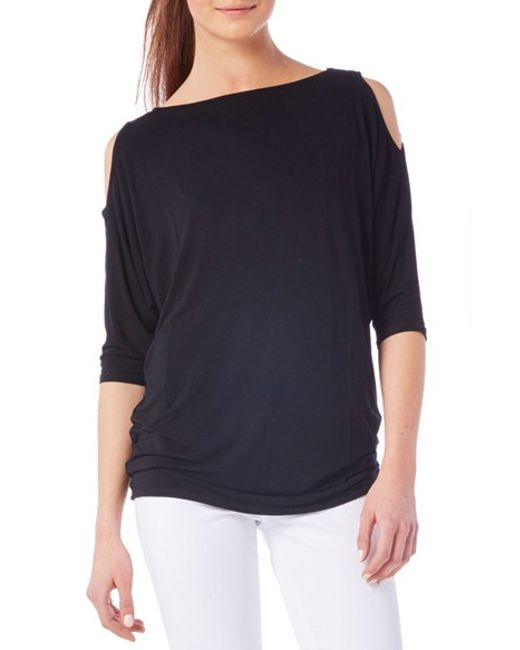 Michael stars boatneck cold shoulder tee in black lyst for Michael stars tee shirts