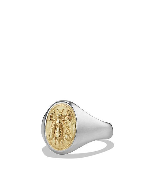 David yurman Petrvs Bee Signet Pinky Ring With 18k Gold in Beige gold