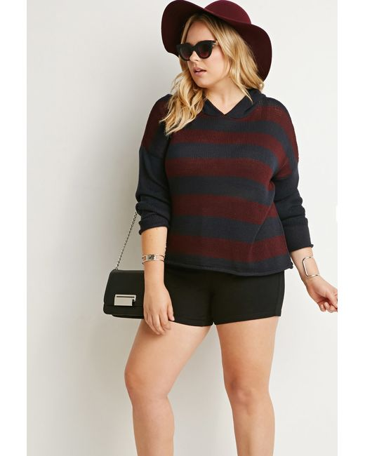 Forever 21 | Blue Plus Size Hooded Stripe Sweater | Lyst