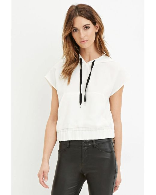 Forever 21 | White Contemporary Drawstring Hood Top | Lyst