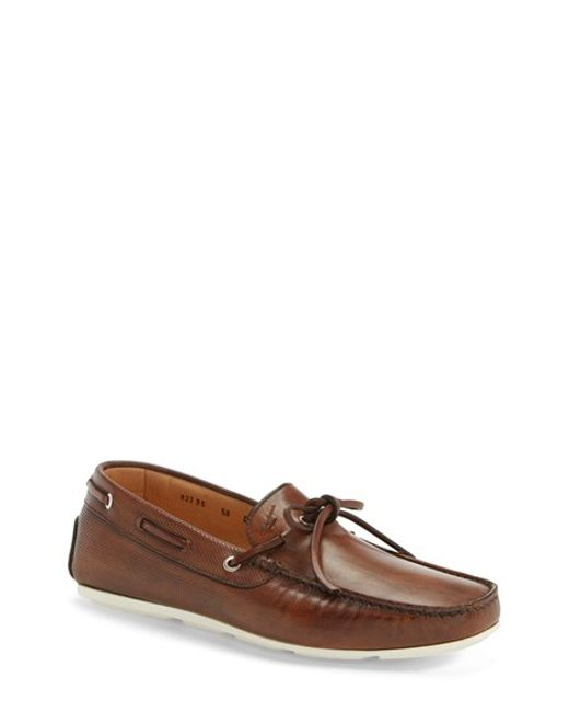 Santoni | Brown 'toft' Leather Driving Shoe for Men | Lyst