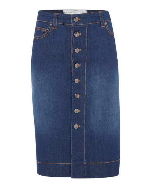 braintree button up denim skirt in blue lyst