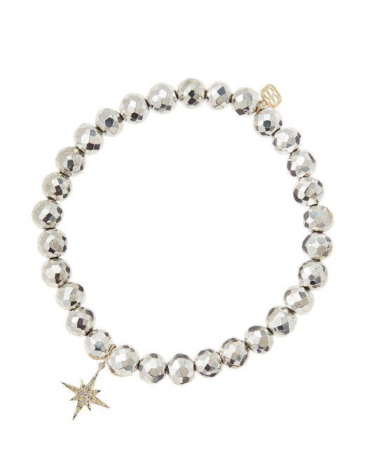 Sydney Evan | Metallic Silver Pyrite Beaded Bracelet With 14K Gold/Diamond Small Starburst Charm (Made To Order) | Lyst