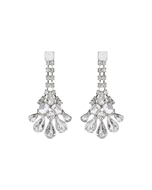 Mikey | Metallic Crystal Chain Drop Flower Earring | Lyst