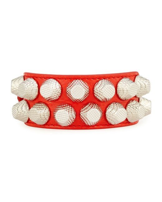 Balenciaga | Red Giant 12 Wide Leather Bracelet With Studs | Lyst
