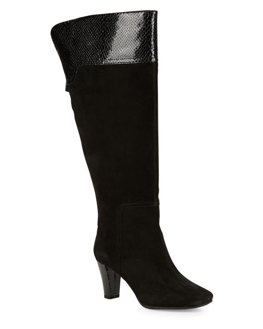 bandolino viet wide calf suede knee high boots in black lyst