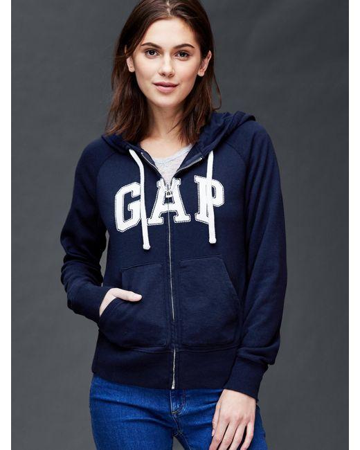 Gap Classic Logo Zip Hoodie in Blue (true indigo)