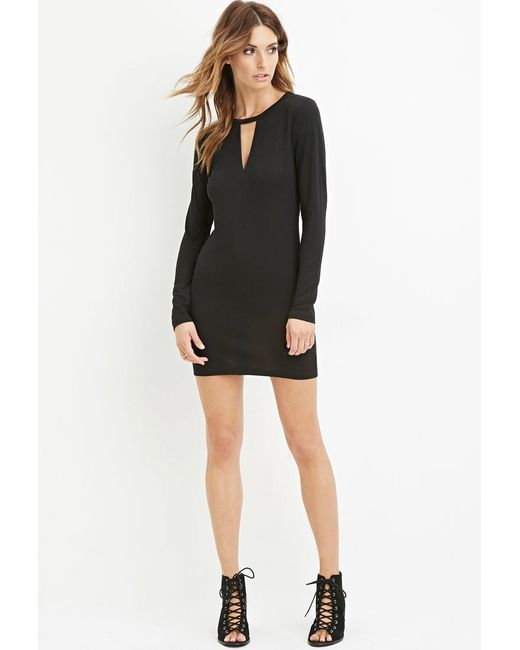 Forever 21   Black Contemporary Cutout Bodycon Dress   Lyst