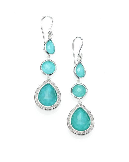 Ippolita | Metallic Stella Turquoise, Clear Quartz, Diamond & Sterling Silver Doublet Triple-drop Earrings | Lyst