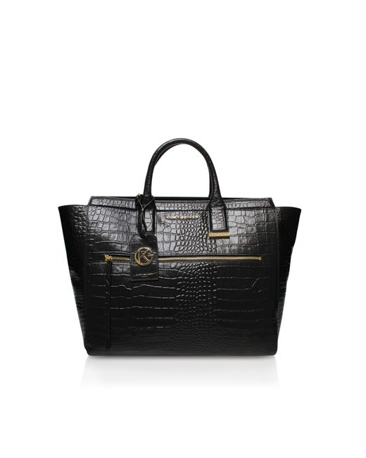 Kurt Geiger | Black Croc Beatrice Tote Bag | Lyst