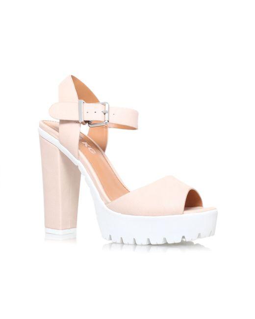 Miss Kg | Natural Panther High Heel Platform Sandals | Lyst