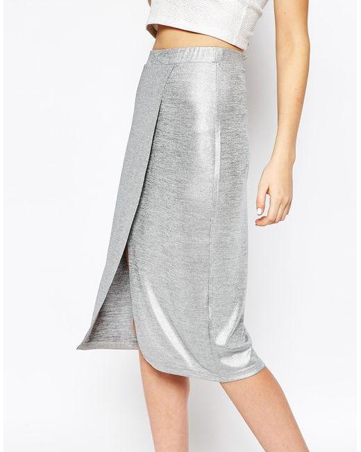 Monki | Silver Wrap Front Metallic Skirt | Lyst