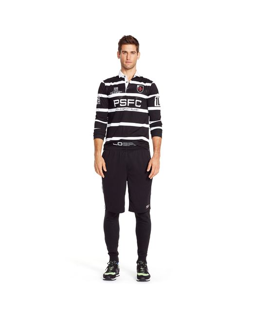 Pink Pony Striped Micro Dot Rugby Shirt In Black For Men