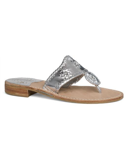 Jack Rogers | Metallic Wide Hamptons Sandal | Lyst