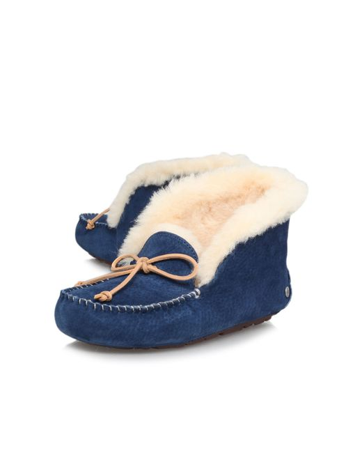 Ugg | Blue ® Alena Bow Detail Waterproof Suede Slippers | Lyst